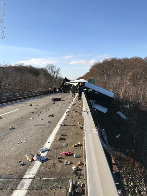 11/30/2017 I-84 trailer hanging  over bridge